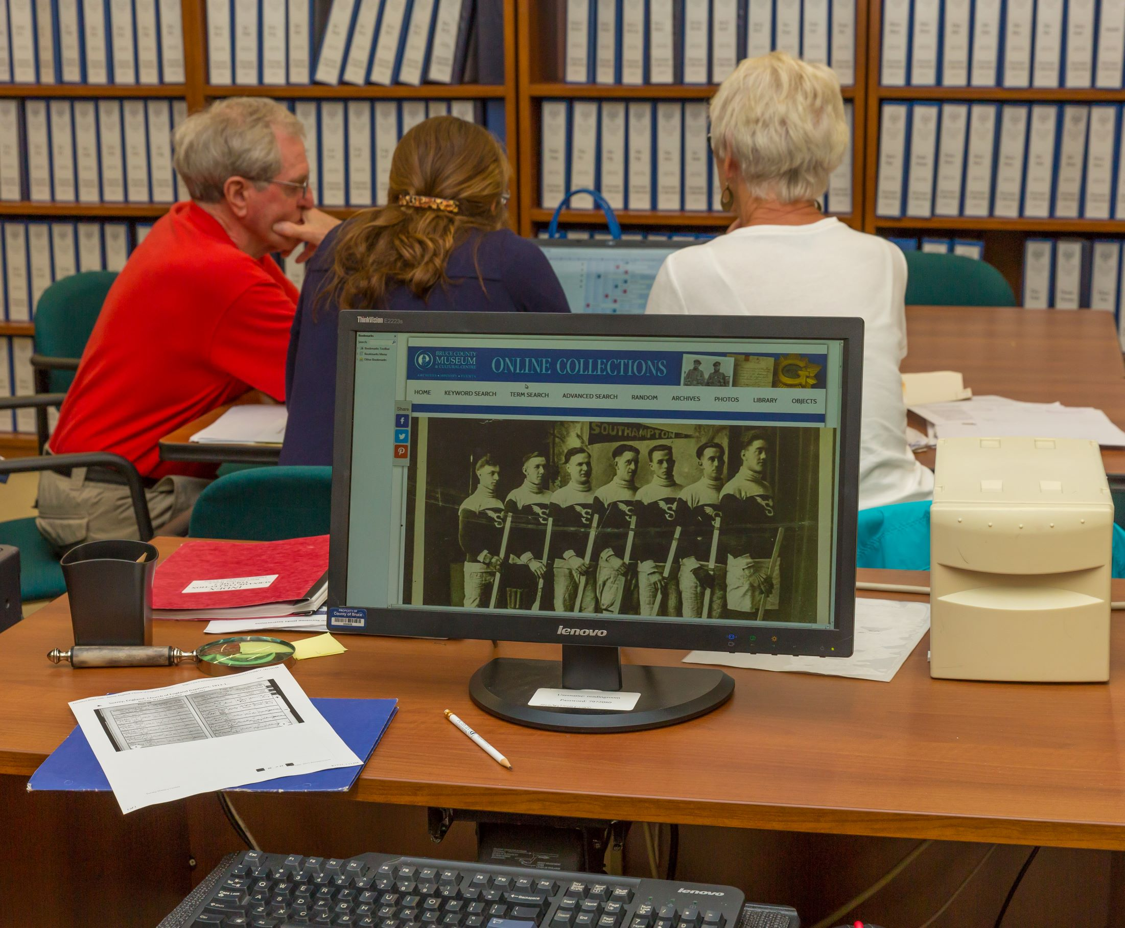 Photo of researchers in the Research Room