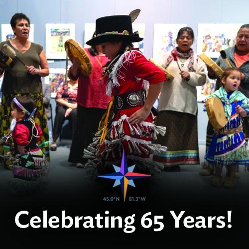 photo of anishnaabwe girl dancing in traditional jingle dress with words Celebrating 65 years written