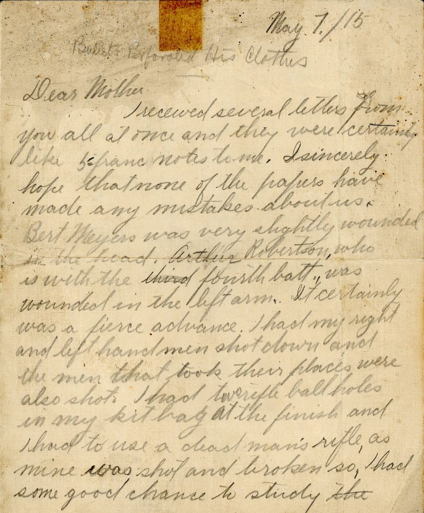 Image of letter home from WWI