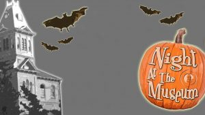 spooky cartoon image of the museum and a pumpkin for night at the museum