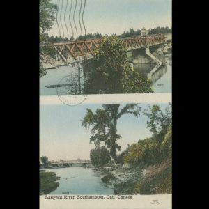 Postcard with Denny's and Victoria St. Bridge