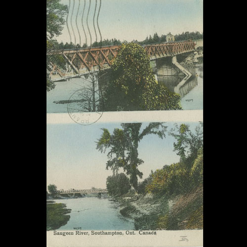 Postcard with Denny's and Victoria St. Bridge