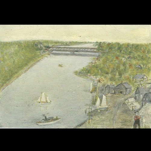 Painting of mouth of Saugeen River including bridge