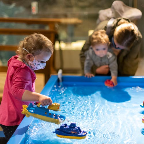 Photo of preschool aged children playing in the water table at Museum Munchkins